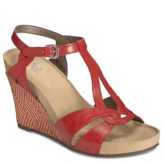 A2 by Aerosoles Women's Red 'Plushfever' Wedge Sandals