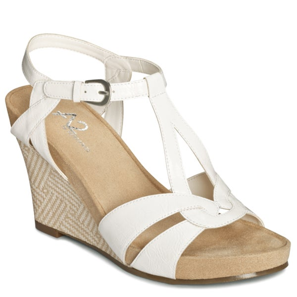 A2 by Aerosoles Women's White 'Plushfever' Wedge Sandals