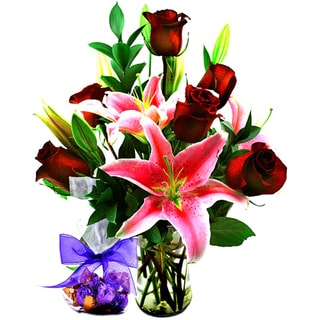 (Valentine's Pre-Order) Serenity Fragrant Flower Bouquet with Godiva Truffles and Vase
