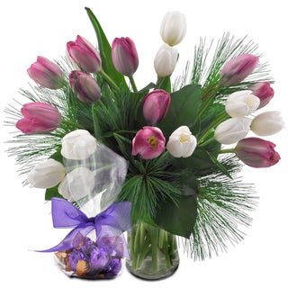 (Valentine's Day Pre-Order) Assorted Tulips Flower Bouquet With Godiva Truffles & Vase