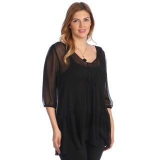 Kiyonna Women's Plus Size 'Cheryl' Black Chiffon Peplum Blouse