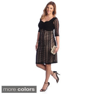 Kiyonna Women's Plus Size 'Burlesque' Lace Overlay Dress
