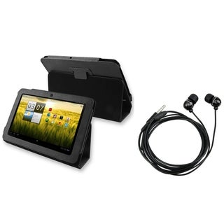 BasAcc Leather Case/ Black Headset for Acer Iconia Tab 200