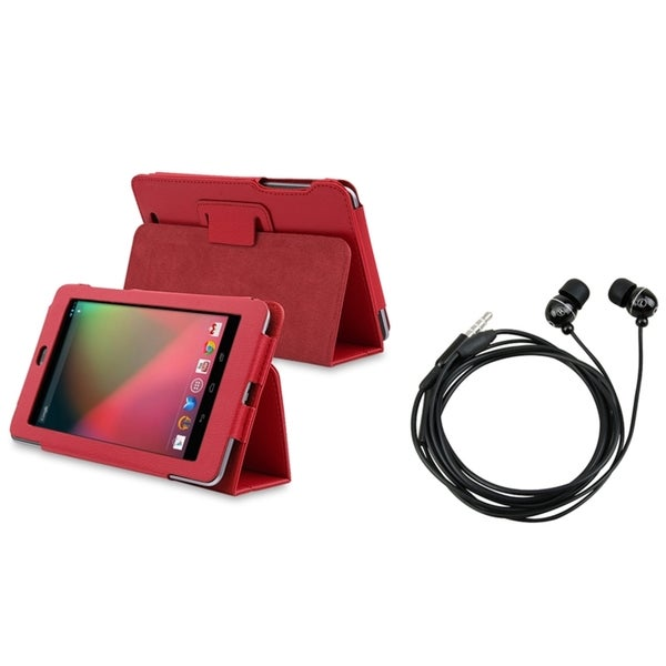 BasAcc Red Leather Case with Stand/ Black Headset for Google Nexus 7