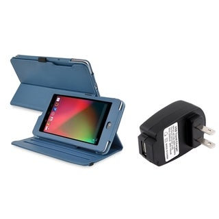 BasAcc Navy Blue Swivel Case/ Travel Charger for Google Nexus 7