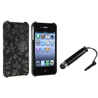 BasAcc Embossed Flower Leather Case/ Stylus for Apple iPhone 4/ 4S