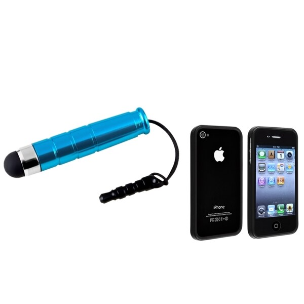 INSTEN Black Shiny TPU Phone Case Cover/ Mini Blue Stylus for Apple iPhone 4/ 4S