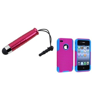 BasAcc Blue/ Pink Hybrid Case/ Mini Red Stylus for Apple iPhone 4/ 4S
