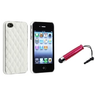 BasAcc White/ Silver Case/ Mini Red Stylus for Apple iPhone 4/ 4S