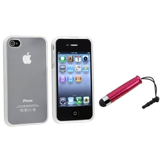 BasAcc Frost White TPU Case/ Mini Red Stylus for Apple iPhone 4/ 4S