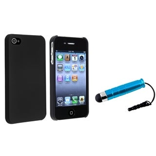 INSTEN Black Phone Case Cover/ Blue Mini Stylus for Apple iPhone 4/ 4S