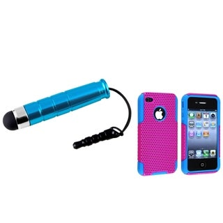 BasAcc Blue/ Pink Hybrid Case/ Mini Blue Stylus for Apple iPhone 4/ 4S
