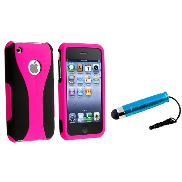BasAcc Hot Pink/ Black Case/ Mini Blue Stylus for Apple iPhone 3G/ 3GS
