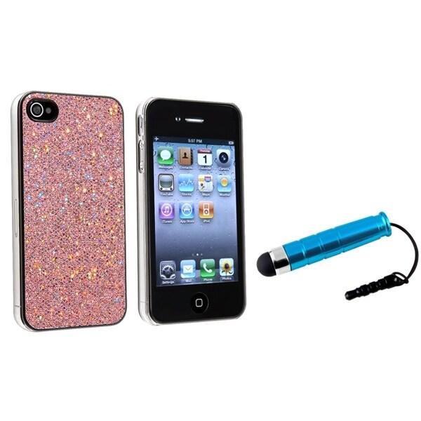 INSTEN Light Pink Bling Phone Case Cover/ Mini Blue Stylus for Apple iPhone 4/ 4S