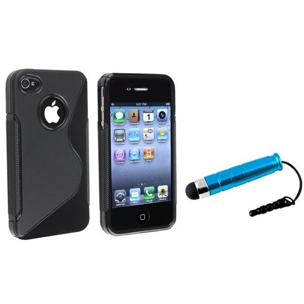 INSTEN Black S Shape TPU Phone Case Cover/ Mini Blue Stylus for Apple iPhone 4/ 4S