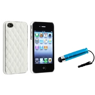 BasAcc White/ Silver Case/ Mini Blue Stylus for Apple iPhone 4/ 4S