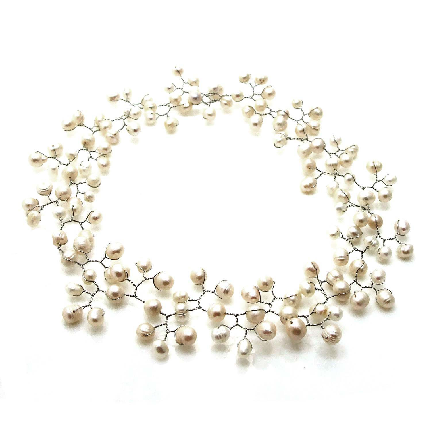 Floating Ray of White Freshwater Pearl Necklace Philippines Overstock Sho
