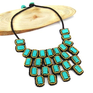 Mosaic Droplets Turquoise Statement Brass Necklace (Thailand)