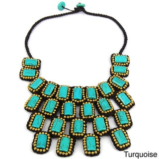 Mosaic Droplets Stone Statement Brass Necklace (Thailand)
