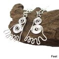Artistic Bone Feet Swirl .925 Silver Dangle Earrings (Thailand)