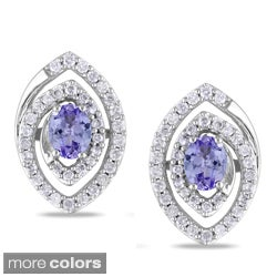 Miadora 14k White Gold Tanzanite or Pink Sapphire Diamond Earrings (G-H, I1)