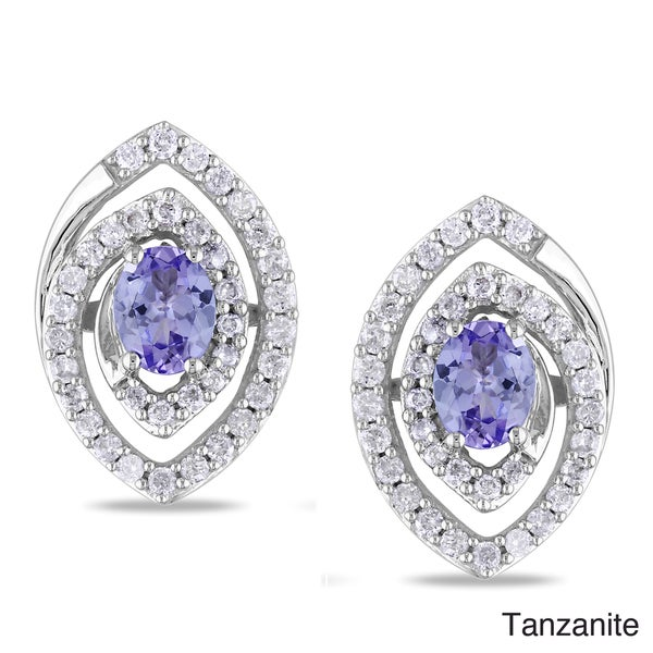 Miadora 14k White Gold Tanzanite or Pink Sapphire Diamond Earrings (G-H, I1)
