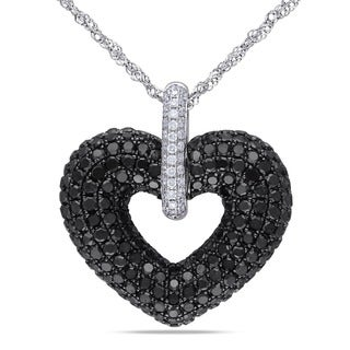 Miadora Signature Collection 14k White Gold 2 3/5ct TDW Black and White Diamond Heart Necklace (G-H)