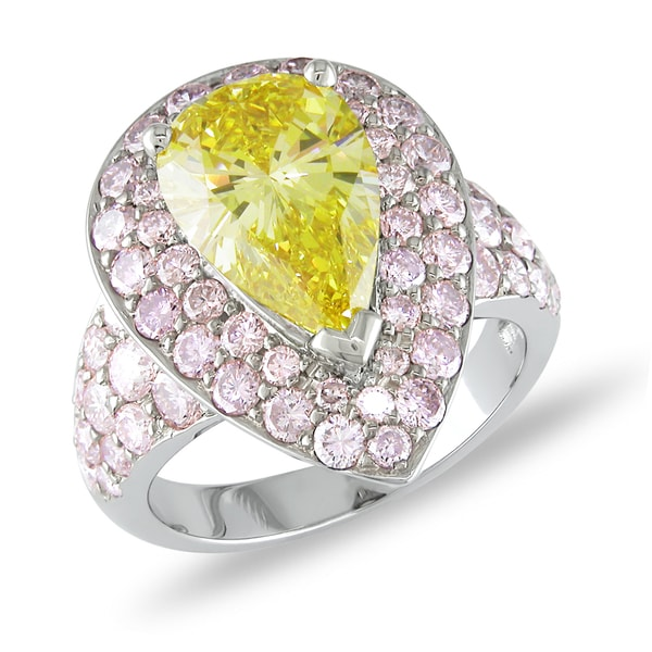 White Gold 5 3/5ct TDW Certified Yellow and Pink Diamond Ring (SI1) (GIA)