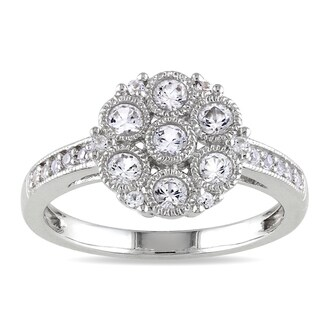 M by Miadora Sterling Silver White Sapphire Cluster Ring