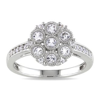 Miadora Sterling Silver White Sapphire Cluster Ring