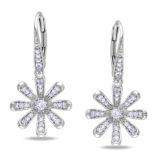 Miadora Sterling Silver White Sapphire Flower Earrings