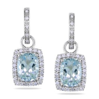 Miadora 14k White Gold Aquamarine and 1/2ct TDW Diamond Earrings (G-H, I1-I2)
