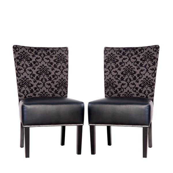 Portfolio Duet Emma Black Pearl Fabric and Black Renu Leather Armless Chair (Set of 2)
