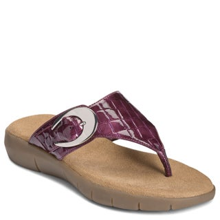 A2 by Aerosoles Women's 'Wipline' Man-Made Croc-Embossed Berry Flip-Flops