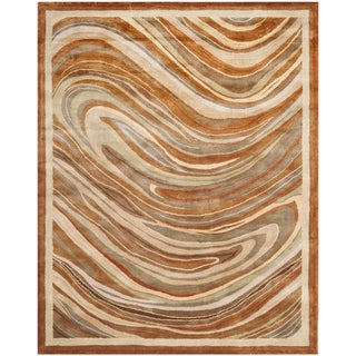 Martha Stewart Marble Swirl October Leaf Red Rug (5'6 x 8'6)