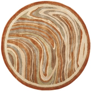 Martha Stewart Marble Swirl October Leaf Red Rug (6' Round)