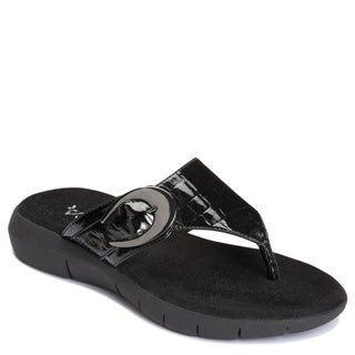 A2 by Aerosoles Women's 'Wipline' Man-Made Croc-Embossed Black Flip-Flops
