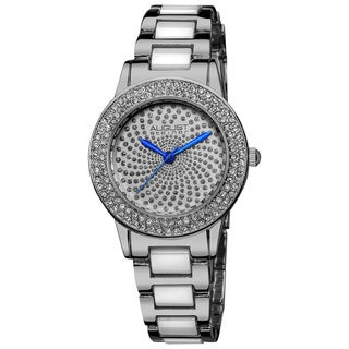 August Steiner Women's Crystal Glitz Ceramic Link Bracelet Watch