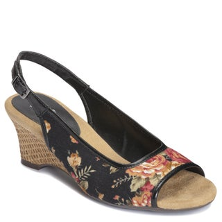 A2 by Aerosoles Women's 'Zentury' Sling-back Sandals in Black Floral