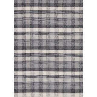 Hand-woven Carter Wool Beige/ Grey Rug (3'6 x 5'6)