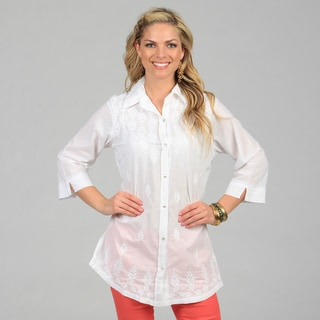 KC Signatures Women's White Button-up Leaf Embroidered Tunic