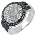Malaika Sterling Silver 1/2ct TDW White and Blue Diamond Ring (I-J, I3)