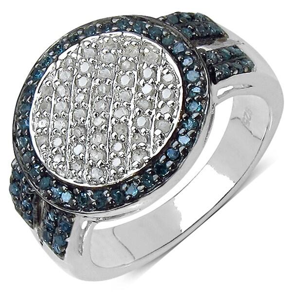 Malaika Sterling Silver 1/2ct TDW White and Blue Diamond Ring (I-J, I3)