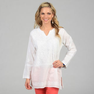 KC Signatures Women's White V-Neck Hand-embroidered Tunic