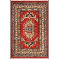 "Traditional Afghan Hand-Knotted Kazak Red/Ivory Wool Rug (2' x 3'1"")"