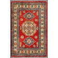 "Afghan Hand-Knotted Kazak Red/Beige Traditional Wool Rug (2' x 3'1"")"