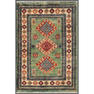 Afghan Hand-knotted Kazak Green/ Beige Wool Rug (2' x 3')
