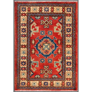 Afghan Hand-Knotted Kazak Red/Ivory Traditional Wool Rug (2' x 2'11