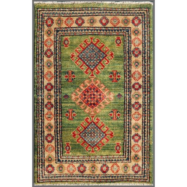 Afghan Hand-knotted Kazak Green/ Beige Wool Rug (2' x 3'1)