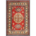 Traditional Afghan Hand-Knotted Kazak Red/Ivory Wool Rug (1'11 x 3')